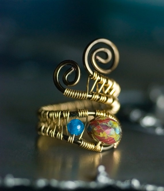 "Red Ring, Bronze Gold Copper Wirework Ring - Pomegranate Picasso Czech Glass, Peacock Blue Apatite, Fashion Under 40 - ""Red Dawn"""