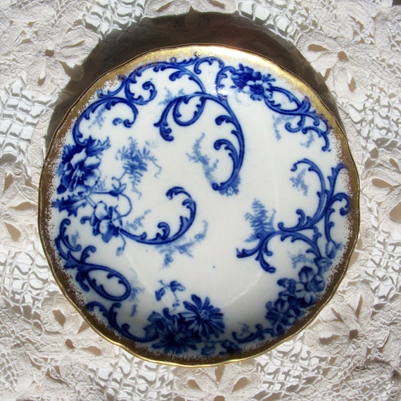 Vintage Flow Blue Plate York Pattern, Cauldon England