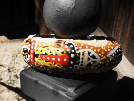 Aboriginal Painted Wooden Gecko Bangle