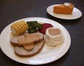 Thanksgiving Dinner Felt Play Food Pattern - Holiday Turkey Dinner PDF - DIY Felt Food