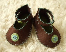Chocolate Brown Ankle Strap Booties - Felt Baby Shoes - Can Be Personalized