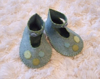 Slate Blue Felt Baby Booties - Felt Baby Shoes - Can Be Customized