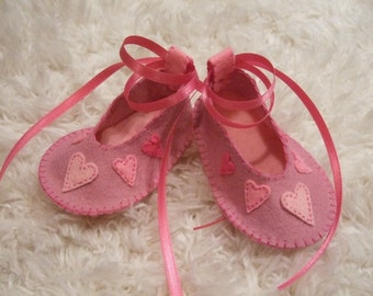 Valentine Felt Baby Shoes with Pink Hearts - Can Be Personalized