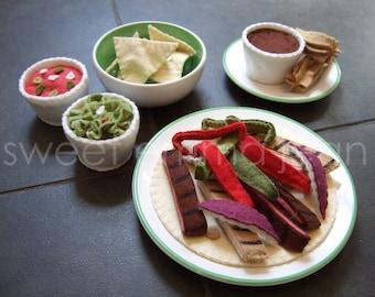 Felt Play Food Pattern - Fajita Dinner - Felt Mexican Food PDF - DIY Felt Food