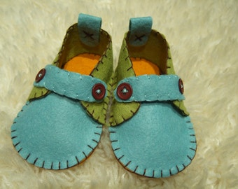 Blue and Green Loafers - Felt Baby Shoes - Can Be Personalized