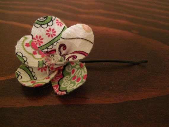 Pink and Green Flower Hair Pin