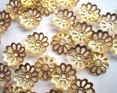 Destash 50 pcs Gold Tone Filigree Bead Caps 8mm