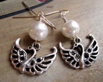 White Pearl and Pewter Swan Charm Earrings, Under 20, Small Dangle, Simplistic