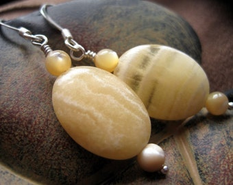 Yellow Soapstone and Mother of Pearl Earrings, Honey Yellow, Under 20, Sand Waves, Sunshine Streaks