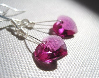 Light Pink Swarovski Crystal  Earrings, Fuchsia Swarovski Hearts Earrings, Valentines Day Gift for Her, Minimalist Earrings, Pink Heart