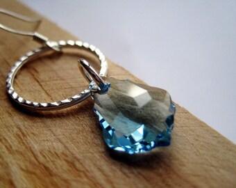 March Birthstone, Aquamarine Crystal Earrings, Baby Blue Swarovski Baroque and Silver Hoop Earrings, Light Blue Swarovski Crystal Dangles