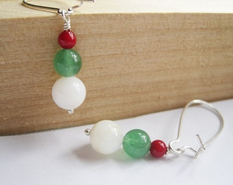 Christmas Earrings, White, Red & Green, Xmas Tree, Ornament Earrings, Under 20, Stocking Stuffer, Holiday Fashion