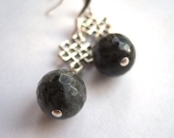 Faceted Labradorite Sphere Beads and Celtic Eternity Ornament Earrings, Under 25, Minimalistic, Rocker Style