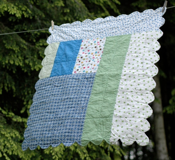 Baby Quilt: A Patchwork of Green and Blue and Polka Dots with Scalloped Edges