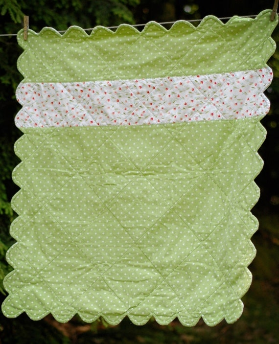Baby Quilt in Green with Polka Dots Flannel and Cotton Floral Print, Ready to Ship