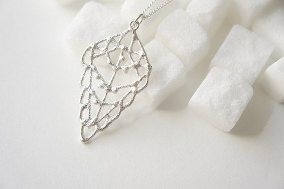 ZITUN - Silver Necklace - Moroccan Sugar - Womans Strength, organic, diamond, henna, bridal jewelry, amulet, handmade