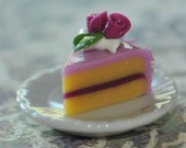 Purple Lilac with Rose...Handmade....Cake Cake Cake....Let them Eat Cake...Slice of Cake on a Plate Cab Cabochon Charm Pendant Birthday Celebration