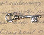 Lot of 12.....Antique Style Key Charm.....Pendants.....Antique Silver finish...Mini...35mm