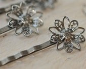 Lot of 20.... Antique Silver Filigree Flower... Bobby Pins.... for Cabochons or Flowers.... Hair Pins with Flower Pads 2 Inches long...