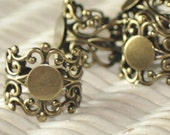 Antique Brass....Adjustable..... Filigree Ring Base with Pad....TOP QUALITY....the best available....Extra Wide 20mm..... Set of 4