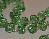 Green Glass Crystal Bead Chain 90cm 14mm Beads Hand Made Silver Eye Pins AWESOME