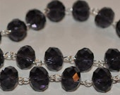 Amethyst  Purple Glass Crystal Bead Chain 90cm 14mm Beads Hand Made Silver Eye Pins AWESOME