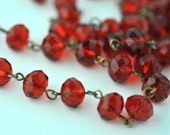 Ruby Red Glass Crystal Bead Chain 90cm 10mm Beads Hand Made Antique Brass Eye Pins AWESOME