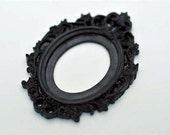 Set of 2 Retro Scrolling Gothic Style Open Back Vintage Style Frame for Cabochon....39mm x 65mm 30mm x 40mm Black