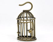 Antique Brass Vintage Style Bird Cage Pendant 28mm x 48mm