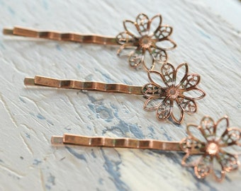 Lot of 20.... Copper Patina Filigree Flower... Bobby Pins.... for Cabochons or Flowers.... Hair Pins with Flower Pads 2 Inches long...
