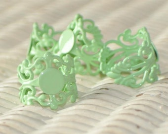 NEW Rue Green....Adjustable..... Filigree Ring Base with Pad....TOP QUALITY....the best available....Extra Wide 20mm... Set of 4