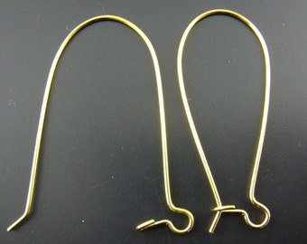 Set of 10.... Gold Plated Earring Ear Wires...for Crystals or Charms 15mm x 36mm