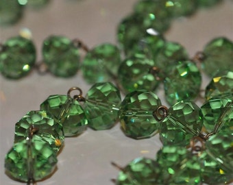 Green Glass Crystal Bead Chain 90cm 10mm Beads Hand Made Antique Brass Eye Pins AWESOME