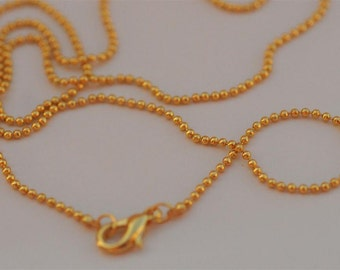 Set of 10.... 20 Inch Petite LOBSTER CLASP Gold 1.5mm Balls Ball Chain necklace