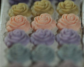 Multi Assortment..10mm.... Set of 16...Open Full Bloom Rose ....Cabochons PERFECT for Bobbies Bobby Pins....Matte Finish