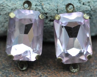 Petite Set of 2 Vintage Pink Crystal Glass 15mm x 10mm Octagon Antique Brass Mounted stones Double hole mount for Earrings or Pendant