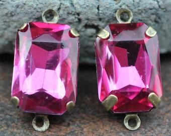 Petite Set of 2 Vintage Topaz Magenta Glass 15mm x 10mm Octagon Antique Brass Mounted stones Double hole mount for Earrings or Pendant