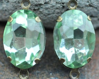 Petite Set of 2 Vintage Peridot Glass 10mm x 14mm Oval Antique Brass Mounted stones Double hole mount for Earrings or Pendant