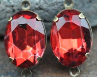 Petite Set of 2 Vintage Ruby Red Glass 10mm x 14mm Oval Antique Brass Mounted stones Double hole mount for Earrings or Pendant