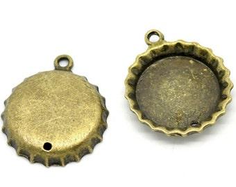 Set of 4 Antique Brass Bottle Cap Drops Charms Pendants 28mm