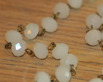 Moonstone White Glass Crystal Bead Chain 90cm 10mm Beads Hand Made Antique Brass Eye Pins AWESOME