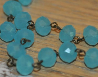 Moonstone Turquoise Glass Crystal Bead Chain 90cm 10mm Beads Hand Made Antique Brass Eye Pins AWESOME