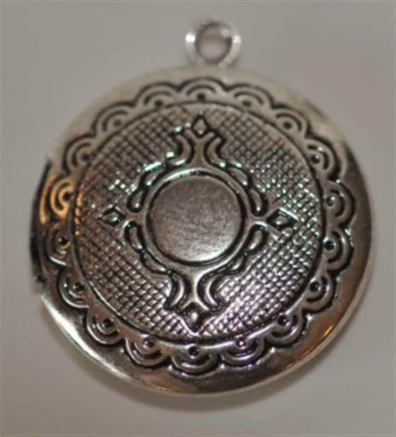 4 pcs.... Antique Silver  Medium...Round....Circle Printed Lockets Cameo Cabochons Pendants