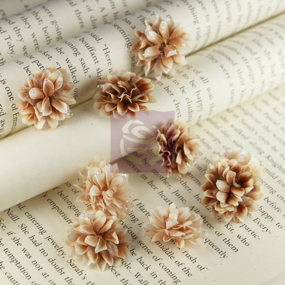 Set of 9 Prima Flowers Gillian Collection Coffee 5530012 Ivory Brown Puffy Shimmer Tulle Flowers Headbands Clips