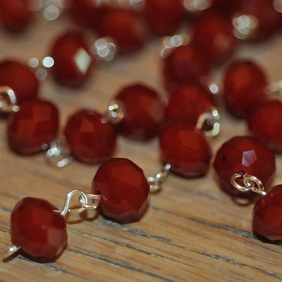 Moonstone Red Glass Crystal Bead Chain 90cm 10mm Beads Hand Made Silver Eye Pins AWESOME