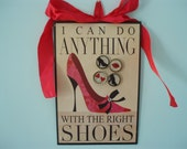 I Can Do Anything With the Right Shoes Magnetic Board with a Set of 4 Glitter Magnets
