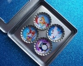 HOLIDAY SPECIAL Christmas Themed Resin Filled Bottle Cap Magnets Set of 4 in a Gift Tin Stocking Stuffer