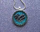 Zebra Stripe Silver Heart on Teal Glitter Resin filled Glitter Bottle Cap Necklace with Ball Chain
