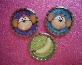 Monkeys and Bananas Glitter Resin Filled Bottle Cap Magnet Set of 3