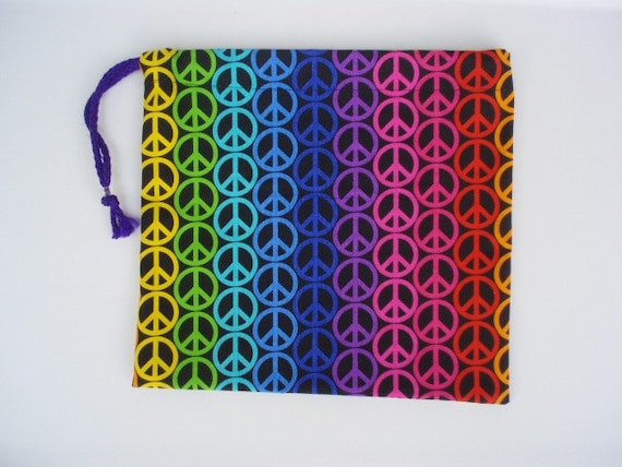 Gymnastics Grip Bag or Gift Bag Bright Rainbow Colored Peace Signs